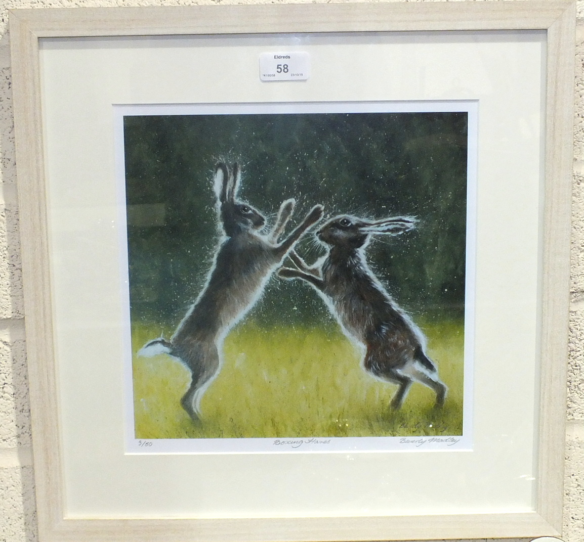 Lot 58 - After Beverley Madley, 'Boxing Hares', a signed and titled limited edition print, 3/50, 29 x 29cm