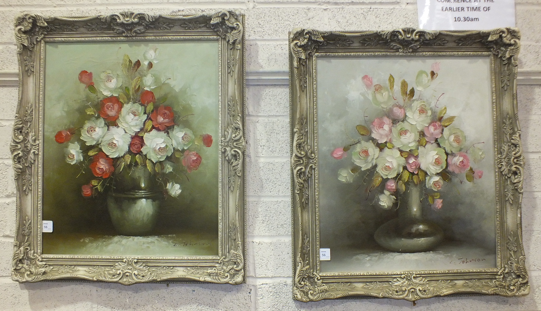 Lot 56 - L Johnson, 'Still Life, vase of roses', a signed oil on canvas, 59 x 49cm and a companion, a pair.