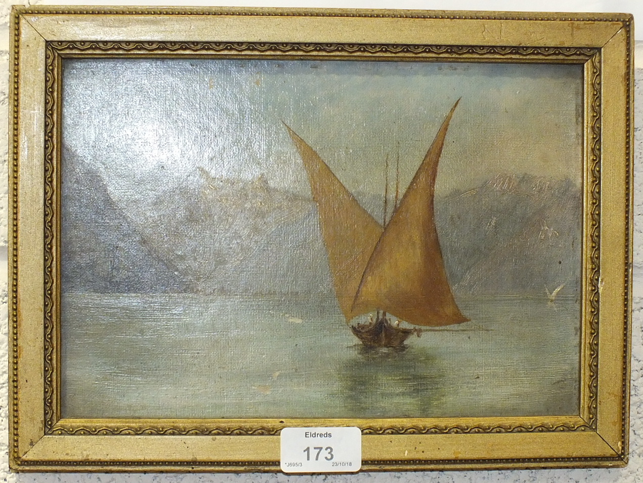 Lot 173 - 19th century Chinese School, 'A fishing junk', unsigned gouache, 11 x 16cm and another, 'Gull-wing