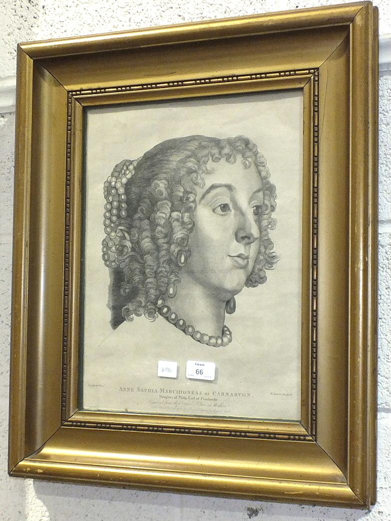 Lot 66 - An engraving portrait after Van Dyck, 'Anne Sophia Marchioness of Carnarvon', in gilt frame, 40 x