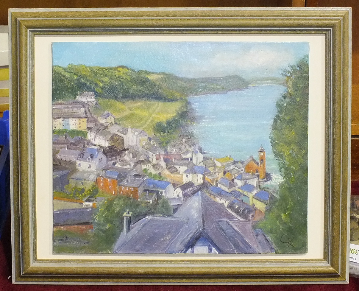 Lot 37 - J Bailey, 'April afternoon at Kingsand', signed watercolour, dated '99, 19 x 37cm, Barbican