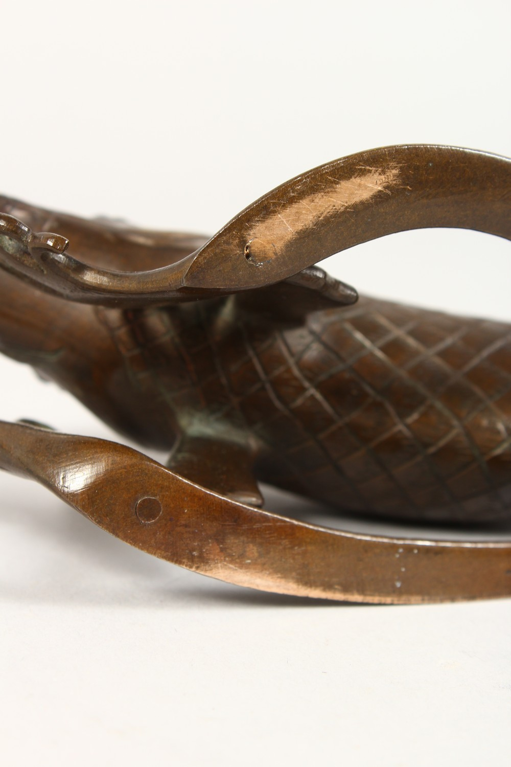 A GOOD JAPANESE MEIJI PERIOD BRONZE KORO OF EBISU - LUCKY GOD & FISH, the censer formed from the - Image 10 of 10
