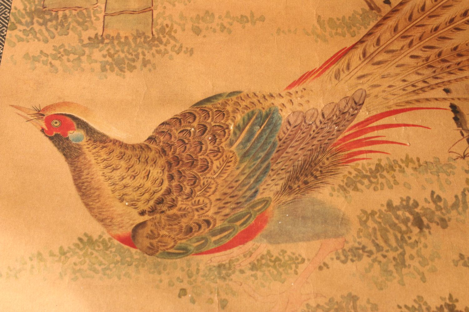 A 20TH CENTURY CHINESE PRINTED HANGING SCROLL PICTURE, depicting pheasants and other birds, 150cm - Image 4 of 4