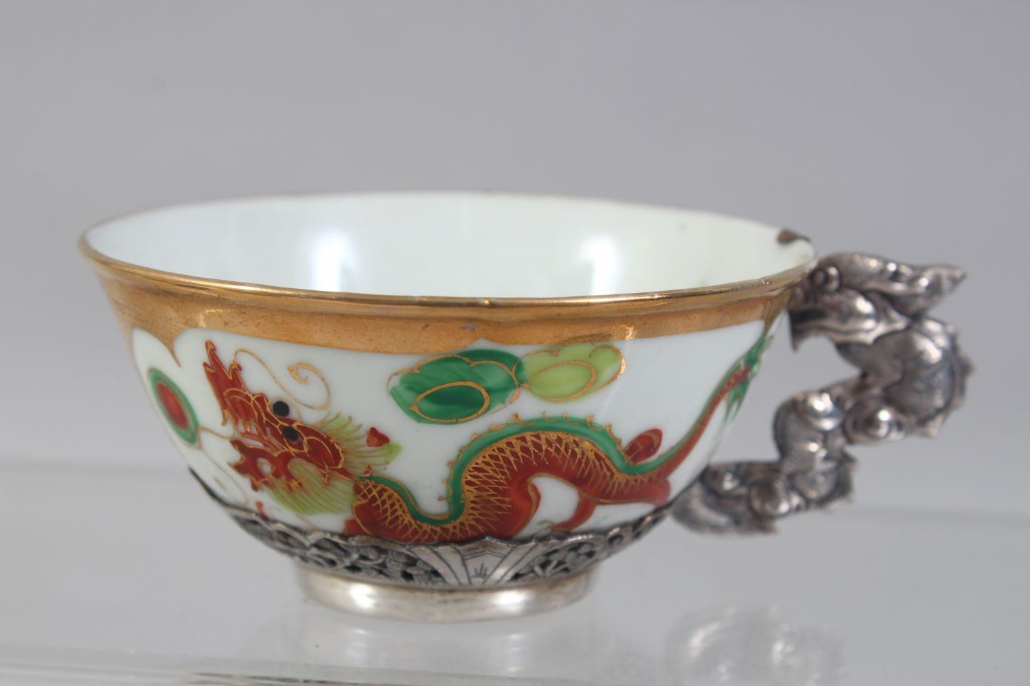 A SET OF FOUR 20TH CENTURY CHINESE FAMILLE ROSE PORCELAIN AND SILVER MOUNTED CUPS & SAUCERS, the - Image 6 of 8