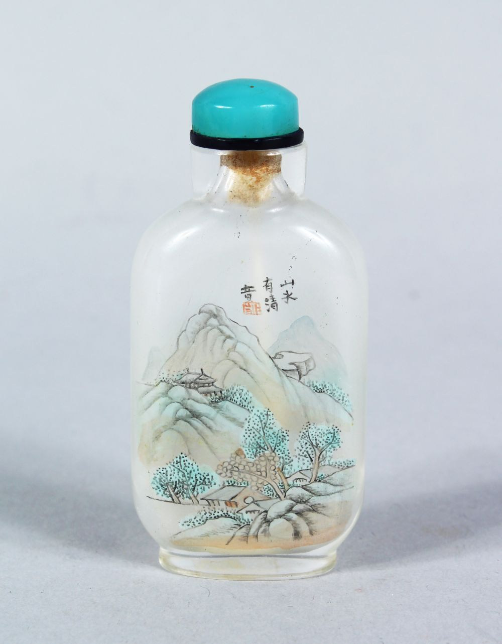 A GOOD 19TH / 20TH CENTURY CHINESE REVERSE PAINTED GLASS SNUFF BOTTLE, the body decorated with two