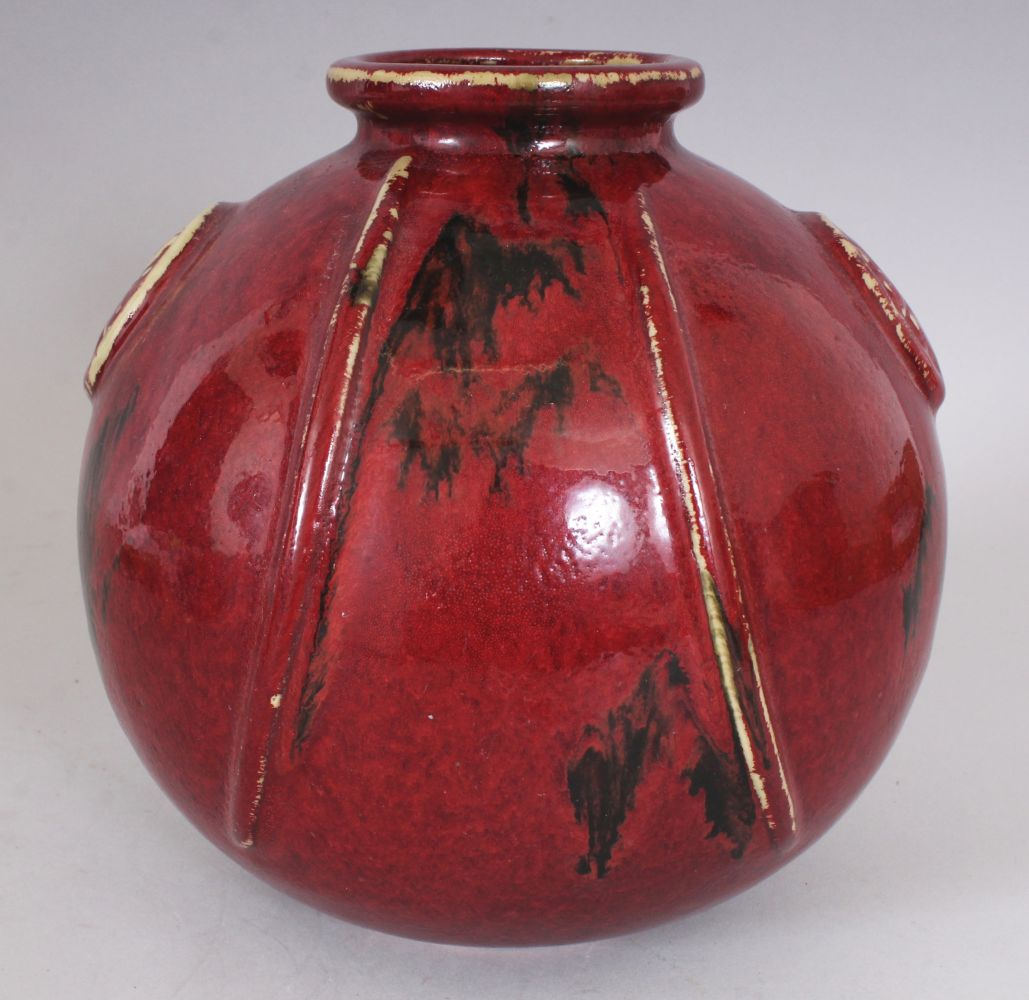 AN UNUSUAL JAPANESE FLAMBE GLAZED & MOULDED STUDIO POTTERY PORCELAIN VASE,, 19.8cm wide, 20.3cm - Image 2 of 5