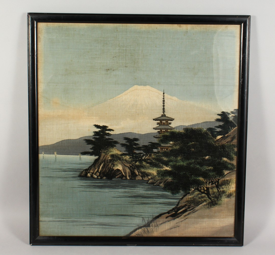 A 20TH CENTURY JAPANESE EMBROIDERED SILK PICTURE OF A LANDSCAPE VIEW, framed 62.5cm high x 52cm - Image 2 of 6