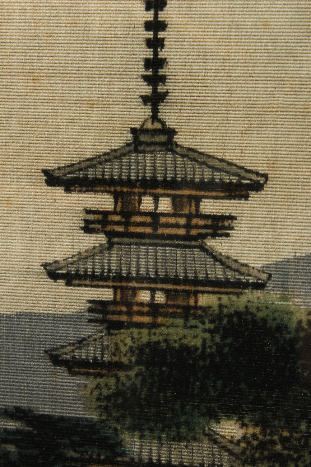 A 20TH CENTURY JAPANESE EMBROIDERED SILK PICTURE OF A LANDSCAPE VIEW, framed 62.5cm high x 52cm - Image 4 of 6