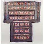 A GOOD 19TH / 20TH CENTURY CHINESE EMBROIDERED SILK BABY CARRY, the textile embroidered with various