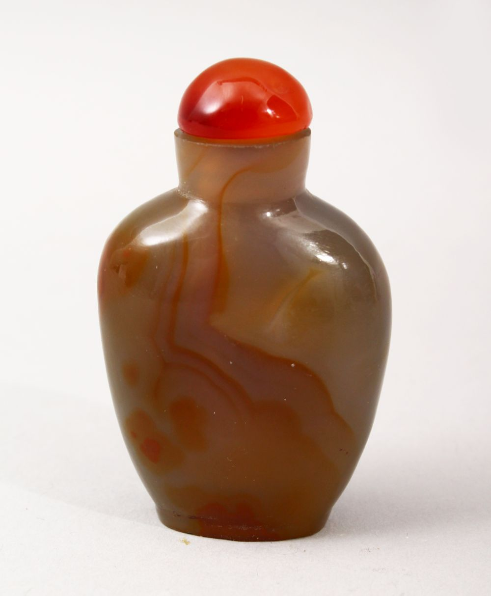 A GOOD 29TH CENTURY CHINESE CARVED AGATE SNUFF BOTTLE, with hardstone topper and wooden spoon, 6cm x