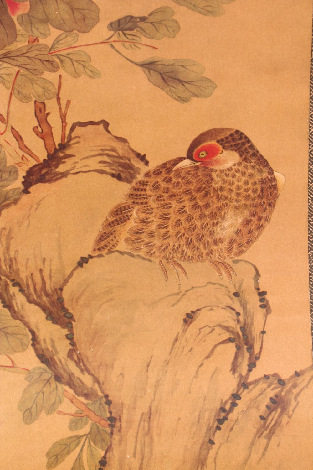 A 20TH CENTURY CHINESE PRINTED HANGING SCROLL PICTURE, depicting pheasants and other birds, 150cm - Image 3 of 4