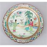 A GOOD 19TH / 20TH CENTURY JAPANESE FAMILLE ROSE PORCELAIN DISH, the dish decorated with scenes of