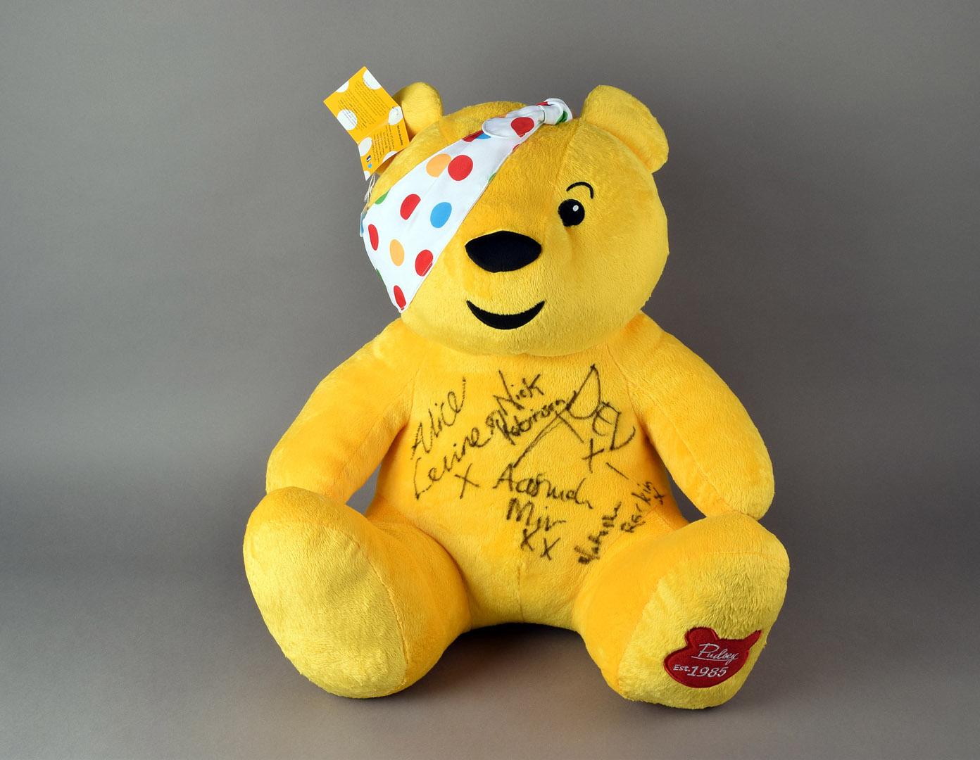 A Large Pudsey Teddy Bear Signed By Natasha Raskin Sharp