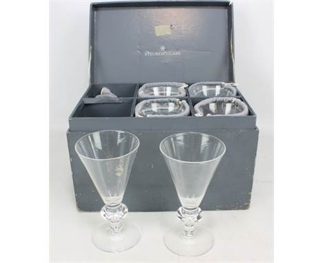 A cased set of six Steuben Glass crystal wine glasses with knopped stems to spreading circular feet, each housed in branded p