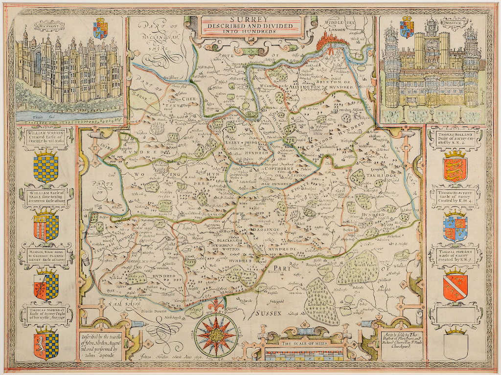 Lot 60 - Surrey. A John Speed coloured and red ruled map, Surrey Described And Divided Into Hundreds, with