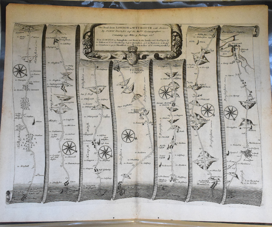 Lot 39 - Road Map. A John Ogilby road map, The Road from Exeter to Truroe, and another, The Road from