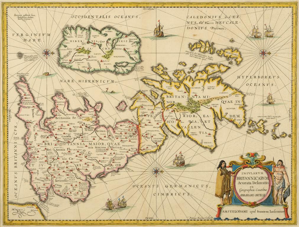 Lot 13 - Ancient British Isles. A Jan Jansson's tinted map, Insularum Britannicarum Acurata Delineatio ex