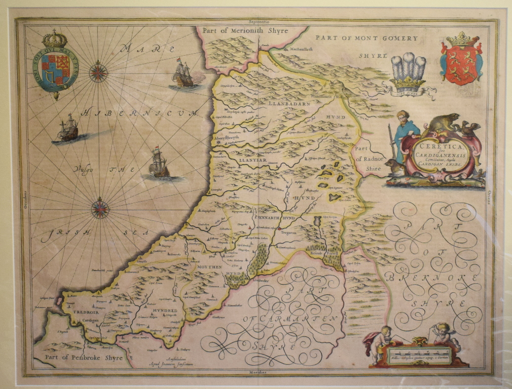 Lot 52 - Cardiganshire. A Jan Jansson tinted map, Cardiganensis Comitatus; Anglis Cardigan Shire, mounted,