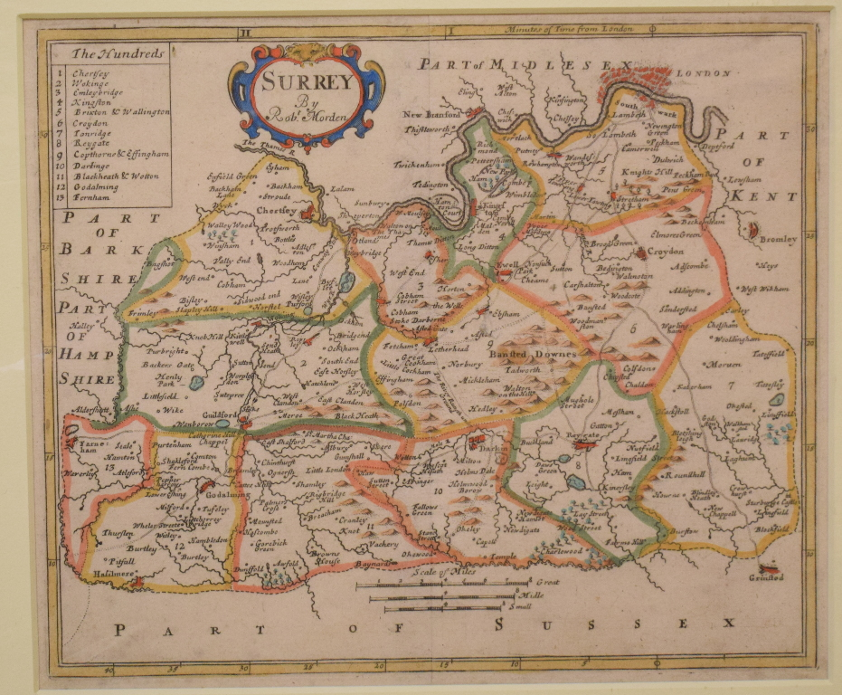 Lot 93 - Surrey. A Robert Morden coloured map, mounted, 18 x 21.5 cm, and a Richard Blome tinted map, Surrey,
