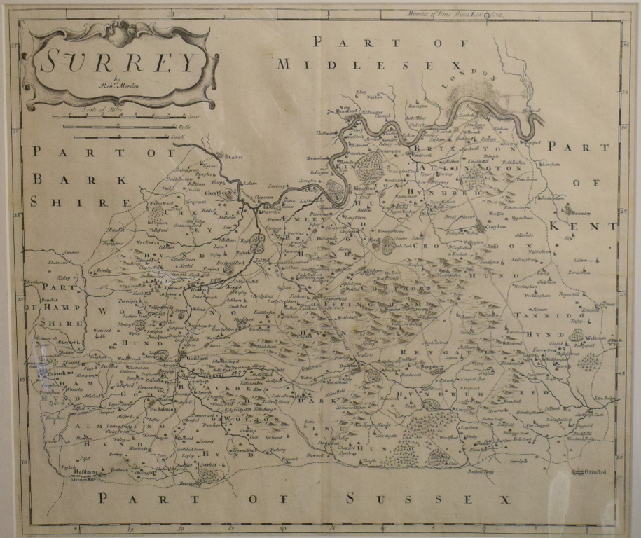 Lot 44 - Surrey. A Robert Morden map, Surrey, mounted, 36 x 42 cm, and another, tinted, mounted, 37 x 43