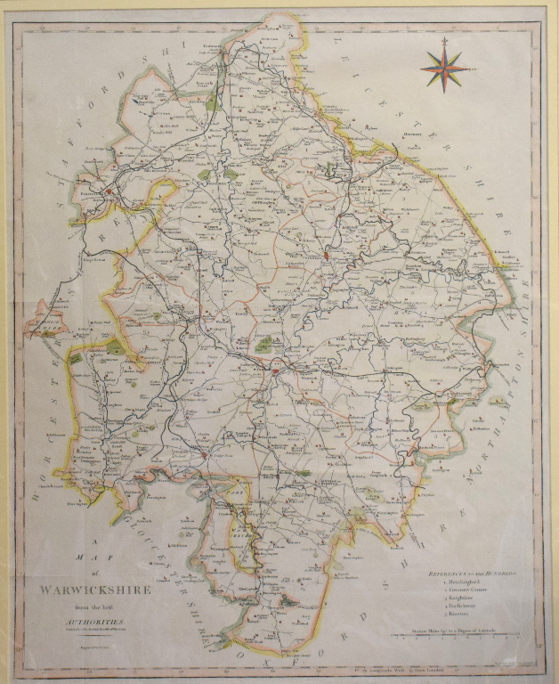 Lot 66 - Herefordshire. A John Cary tinted map, A Map of Herefordshire from the Best Authorities, mounted, 54
