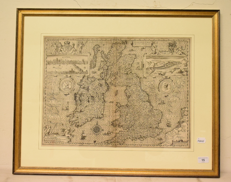 Lot 15 - British Isles. A John Speed map, The Kingdome of Great Britaine and Ireland, with vignettes of
