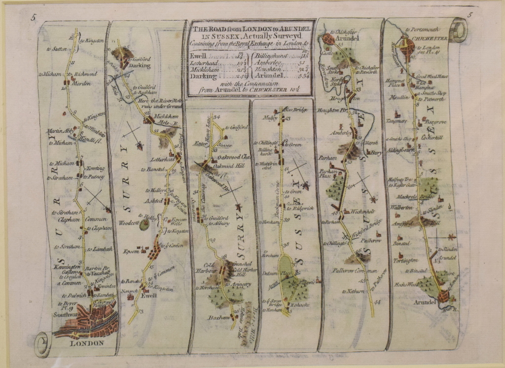 Lot 98 - Eight coloured road maps, including Roads to Arundel, Bognor (By Petworth), Chichester,