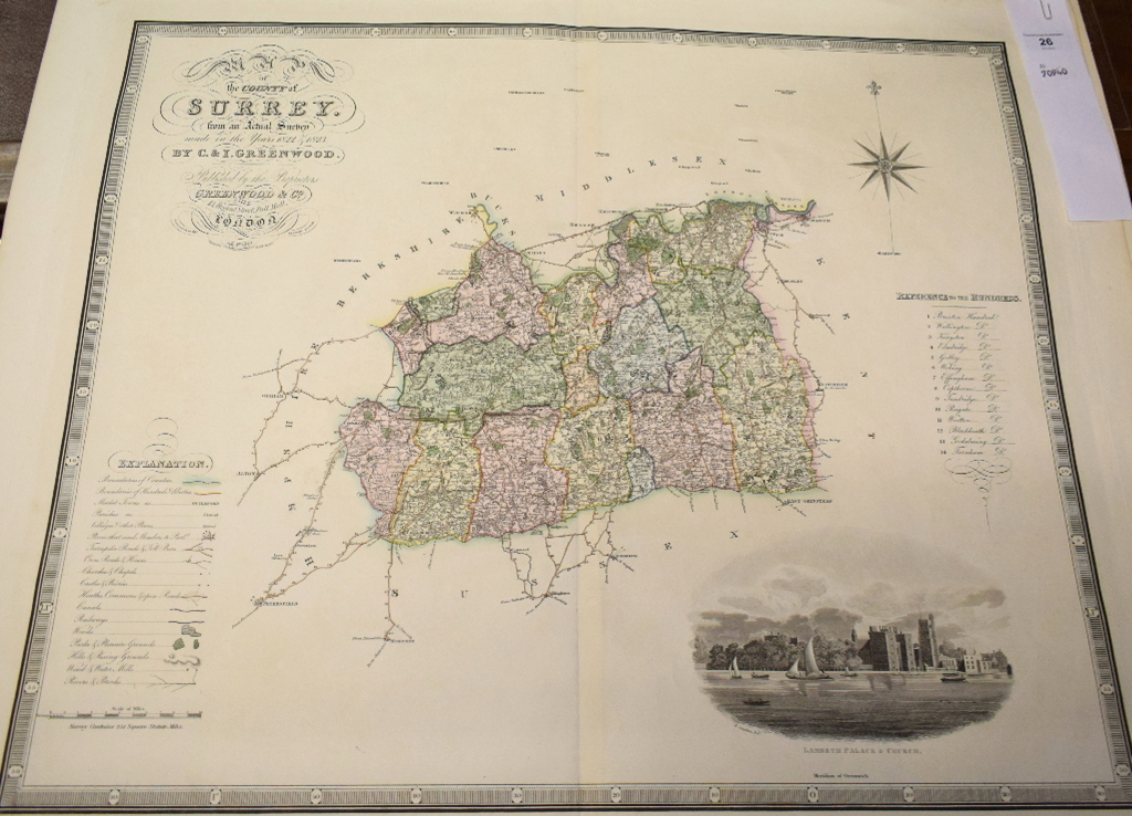Lot 26 - Surrey. A C & I Greenwood coloured map, Map of the County of Surrey from an Actual Survey made in