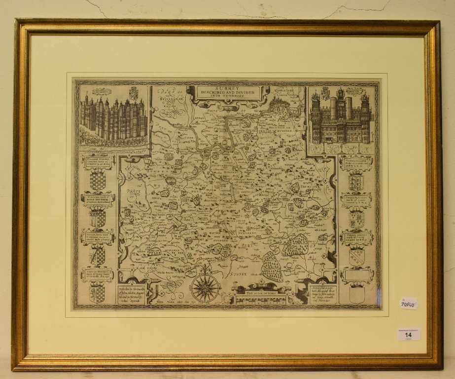 Lot 14 - Surrey. A John Speed map, Surrey Described And Divided into Hundreds, with vignettes of Richmont and