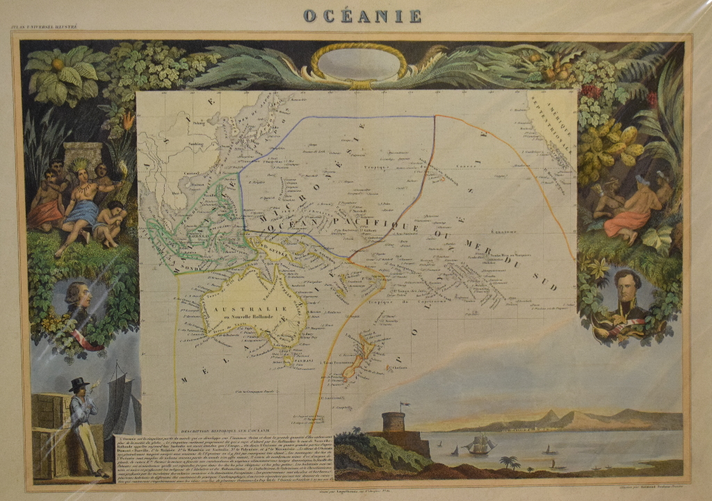 Lot 80 - Ocean. A coloured map, Oceanie, with various vignettes, mounted, 33 x 47 cm, and two regional