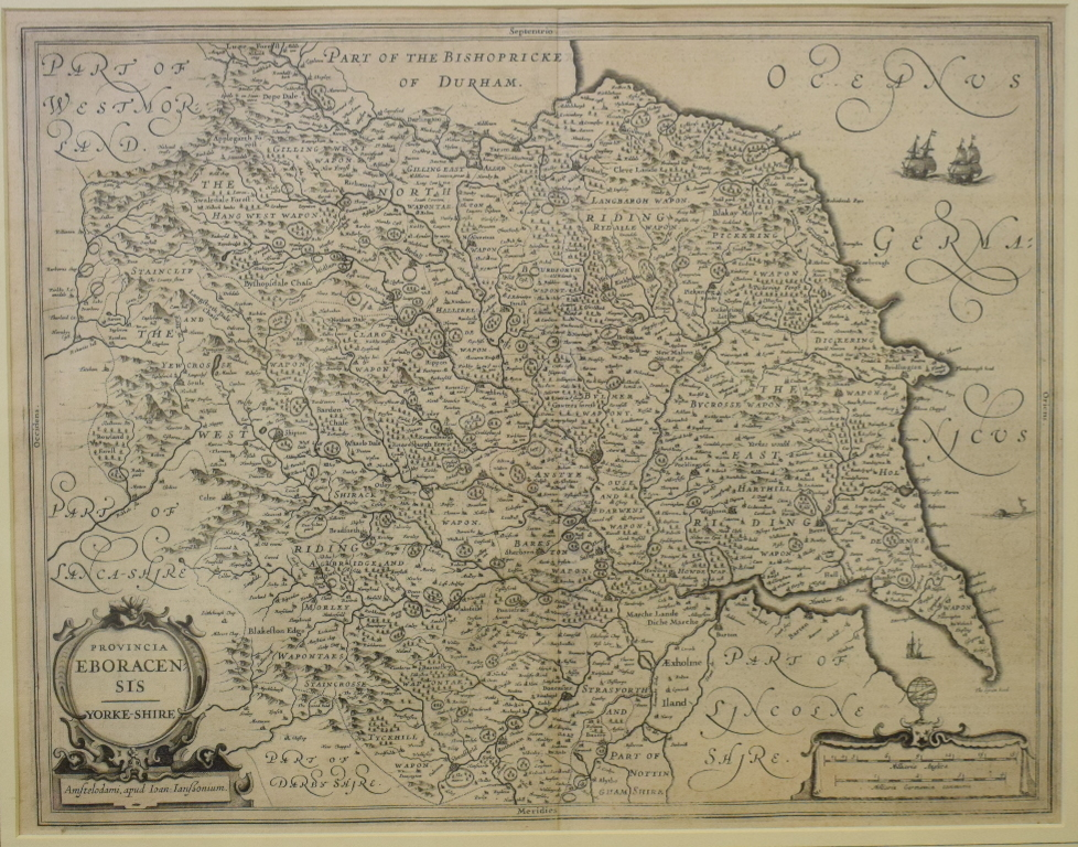 Lot 20 - Yorkshire. A map of the county, Provincia Eboracensis Yorke-Shire, 39 x 50 cm