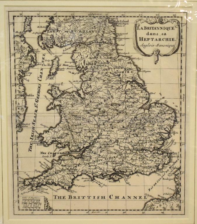 Lot 95 - Britain, a Sanson map, La Britannique dans sa Heptarchie, Anglois-Saxonique, mounted, 24.5 x 21