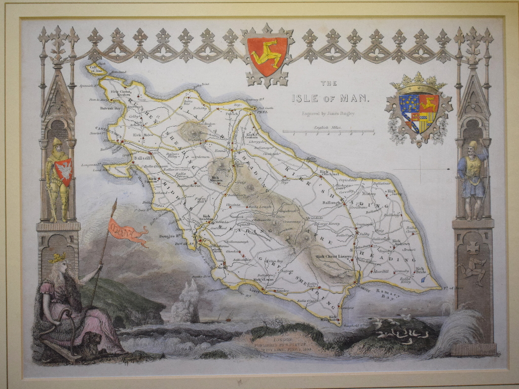 Lot 112 - Assorted coloured maps, including The Isle of Man, Kent, Environs of London and others, all