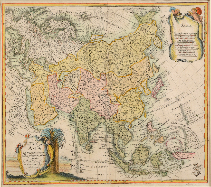 Lot 105 - Asia. A Leonhard Euler coloured map, Tab Geogr Asiae, 34 x 38.5 cm See illustration Report by RB