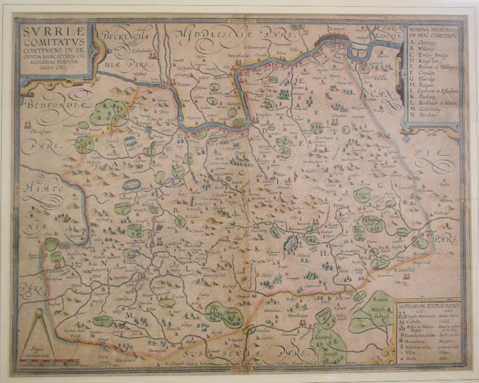 Lot 9 - Surrey. A tinted map, Surriae Comitatus Continens In Seoppida Mercatoria VII Centre fold, paper