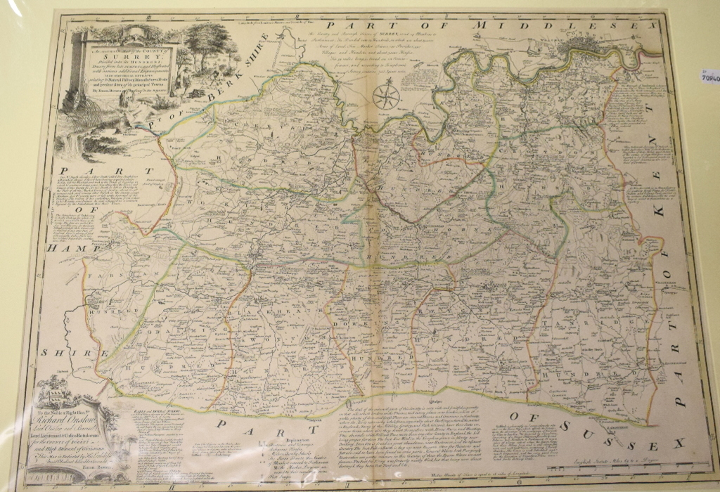 Lot 29 - Surrey. An Emanuel Bowen tinted map, An Accurate Map of the County of Surrey; Divided into its