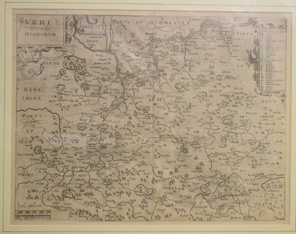 Lot 35 - Surrey. A William Kip map, Surrey Olim Sedes Regnorum, no plate number, mounted, 30 x 39 cm Report