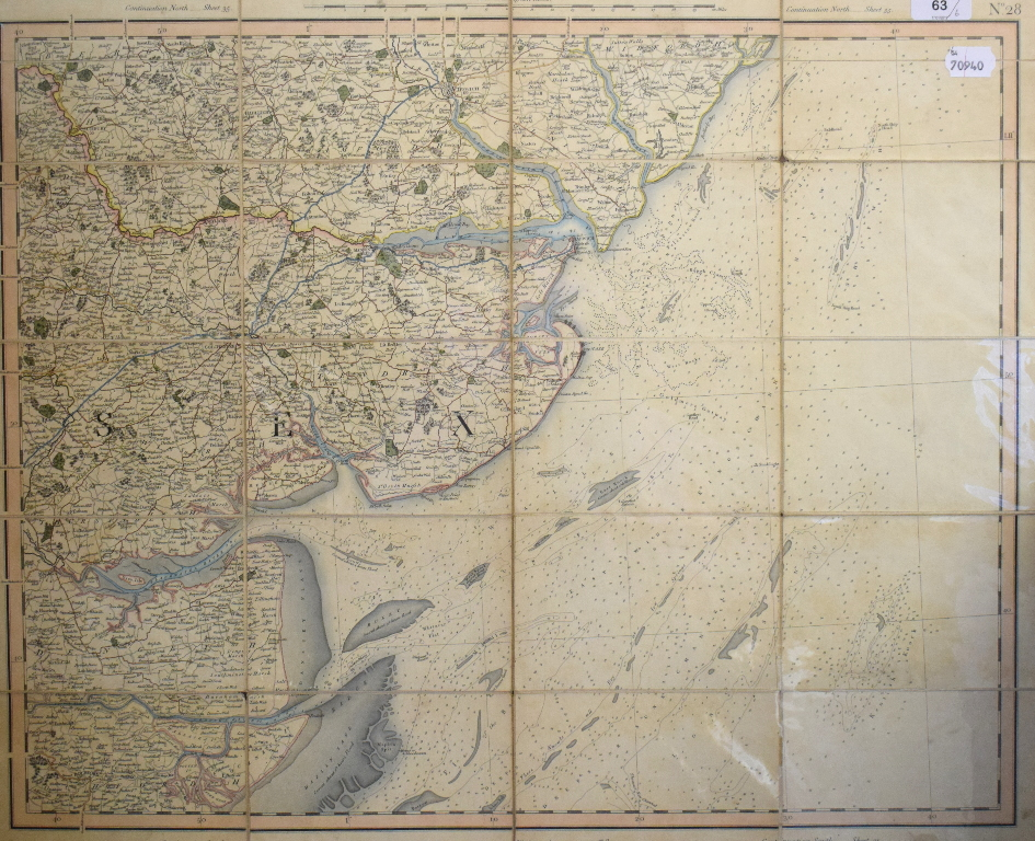 Lot 63 - Six G & J Cary folding maps, no 19/21 & 26/28, 1822/23, linen backed, all mounted, each 55.5 x 67 cm