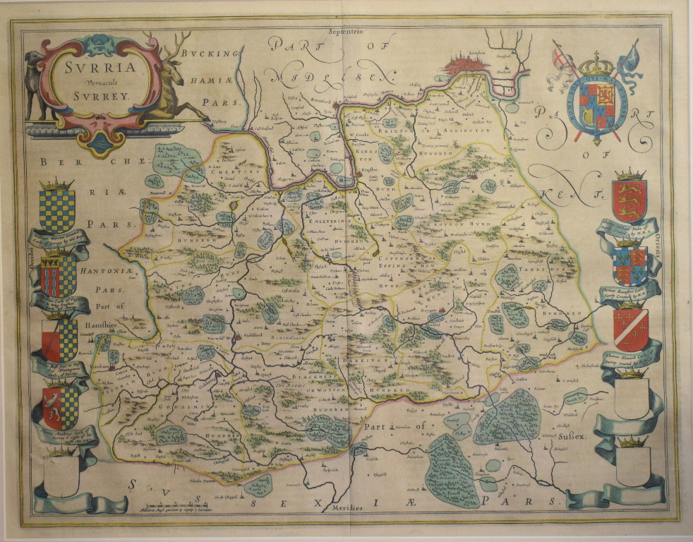 Lot 64 - Surrey. A Willem Blaeu coloured map, Surria Vernacule Surrey, mounted, 40 x 51 cm Report by RB