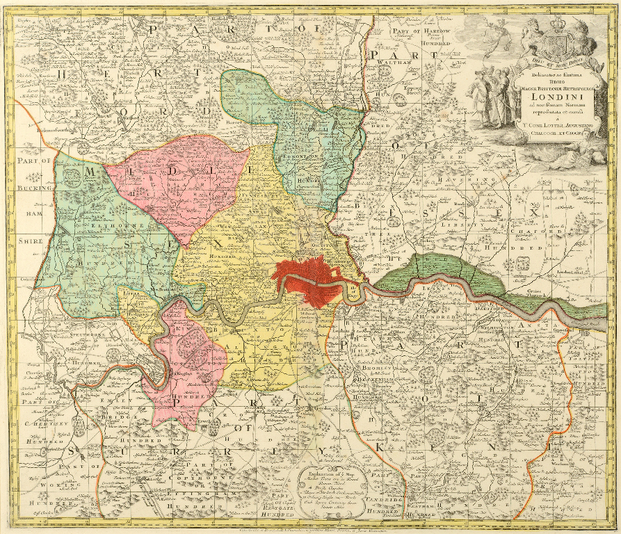 Lot 2 - London. A coloured map, Magnae Brittania Metropoleos Londini, 51 x 59 cm See illustration Centre
