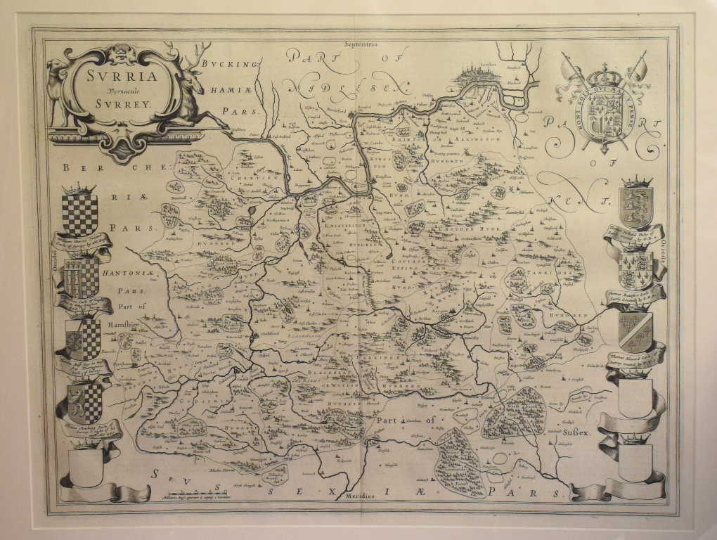 Lot 50 - Surrey. A Willem Blaeu map, Surria Vernacule Surrey, mounted, 40 x 52 cm Folded