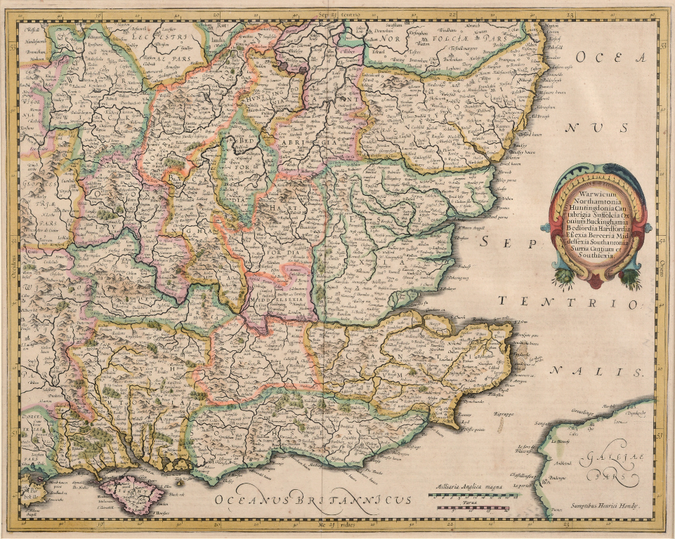 Lot 49 - South East England. A Henrici Hondy tinted map, Warwicum, Northamtonia, Huntingdonia, Canrabrigia,
