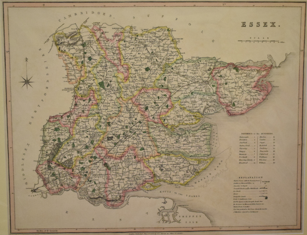 Lot 86 - Berkshire. A coloured map, Berkshire, mounted, 35 x 41.5 cm, another coloured map, Essex, mounted,