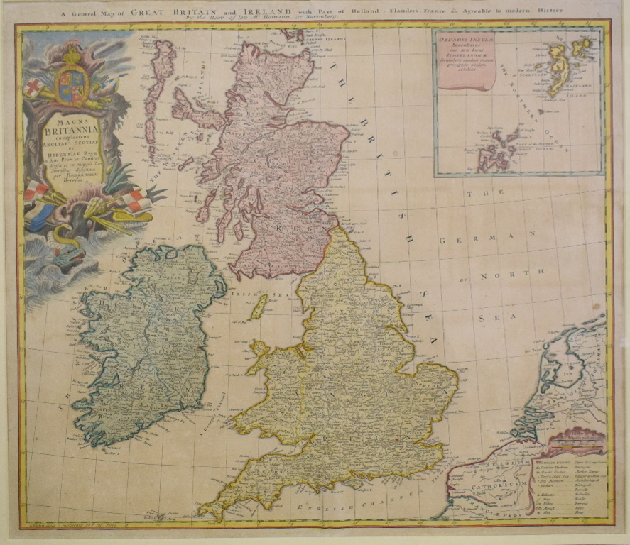 Lot 8 - Great Britain and Ireland. A coloured map, A General Map of Great Britain and Ireland with part of