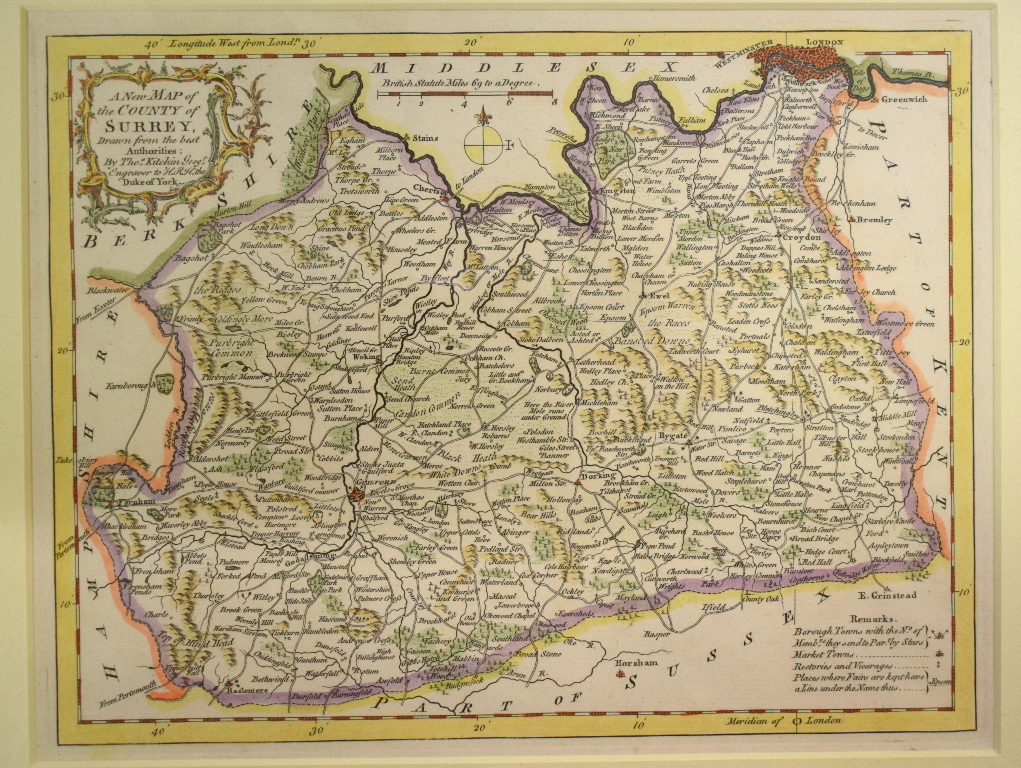 Lot 114 - Surrey. A Thomas Kitchin map, A New Map of The County of Surrey, mounted, 20.5 x 26.5 cm, a Moll