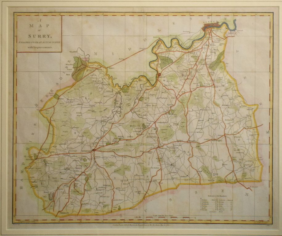 Lot 45 - Surrey. A John Heywood map, A Map of Surry, Engraved from an Actual Survey with Improvements, 36.5 x