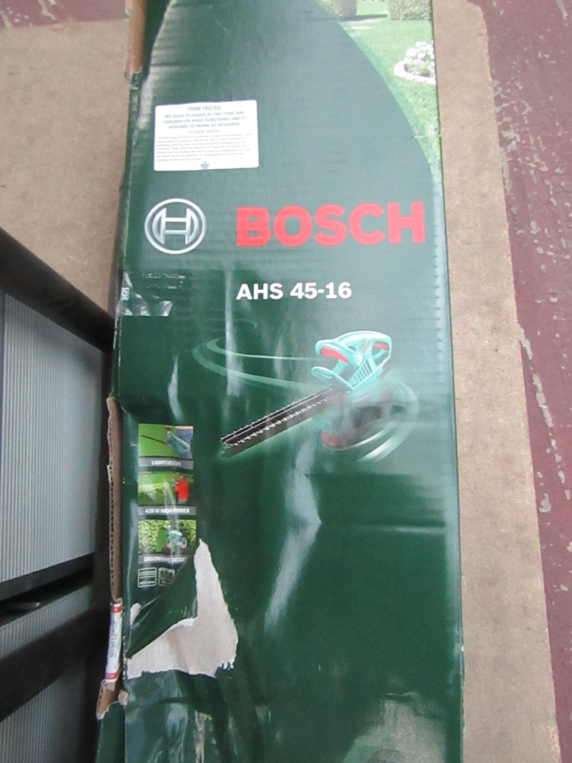 Lot 64 - Bosch AHS 45-16 hedge trimmer, tested working and boxed.
