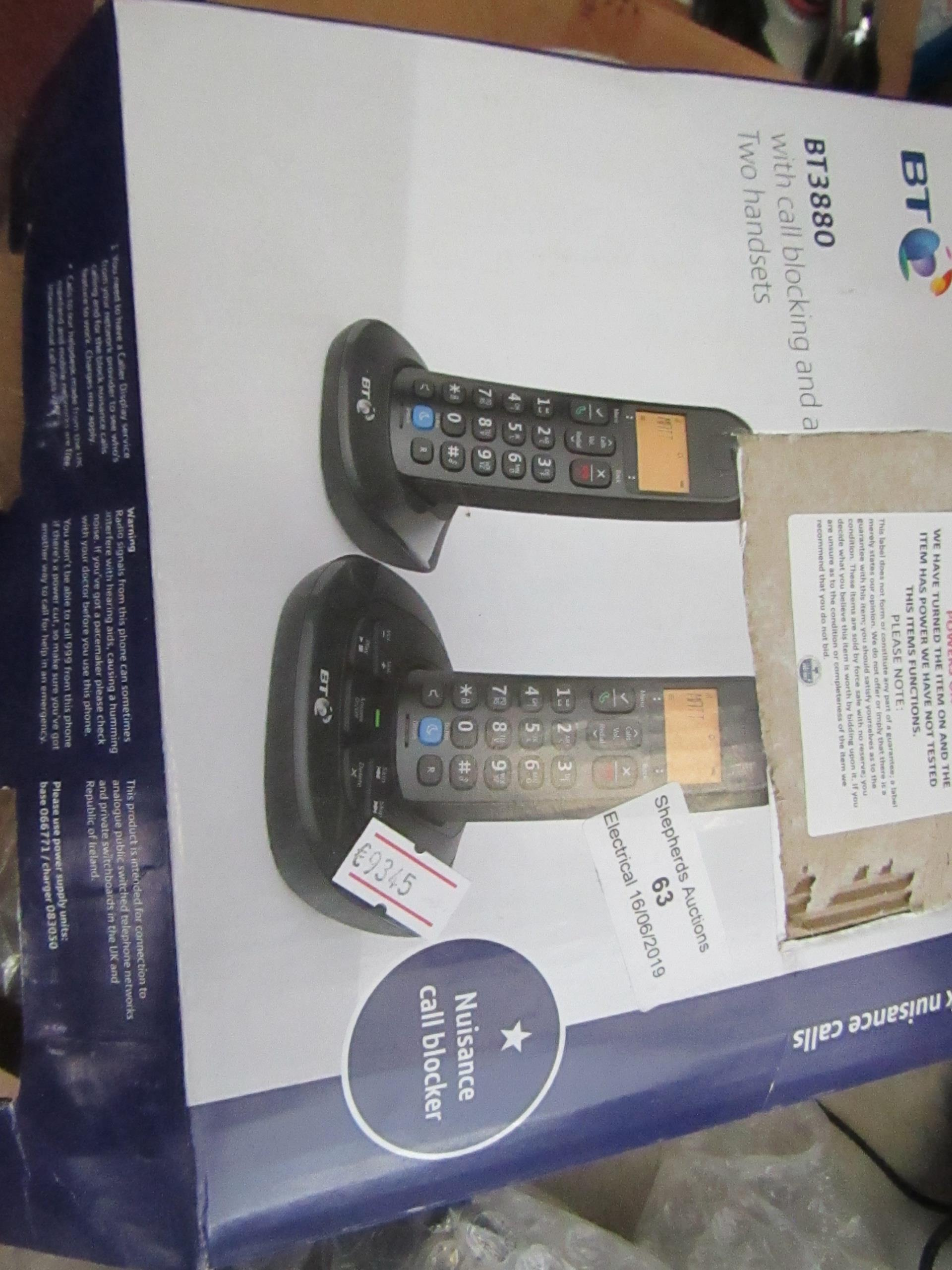 Lot 63 - BT BT3880 digital cordless phone with answering machine and call blocking, complete but untested and