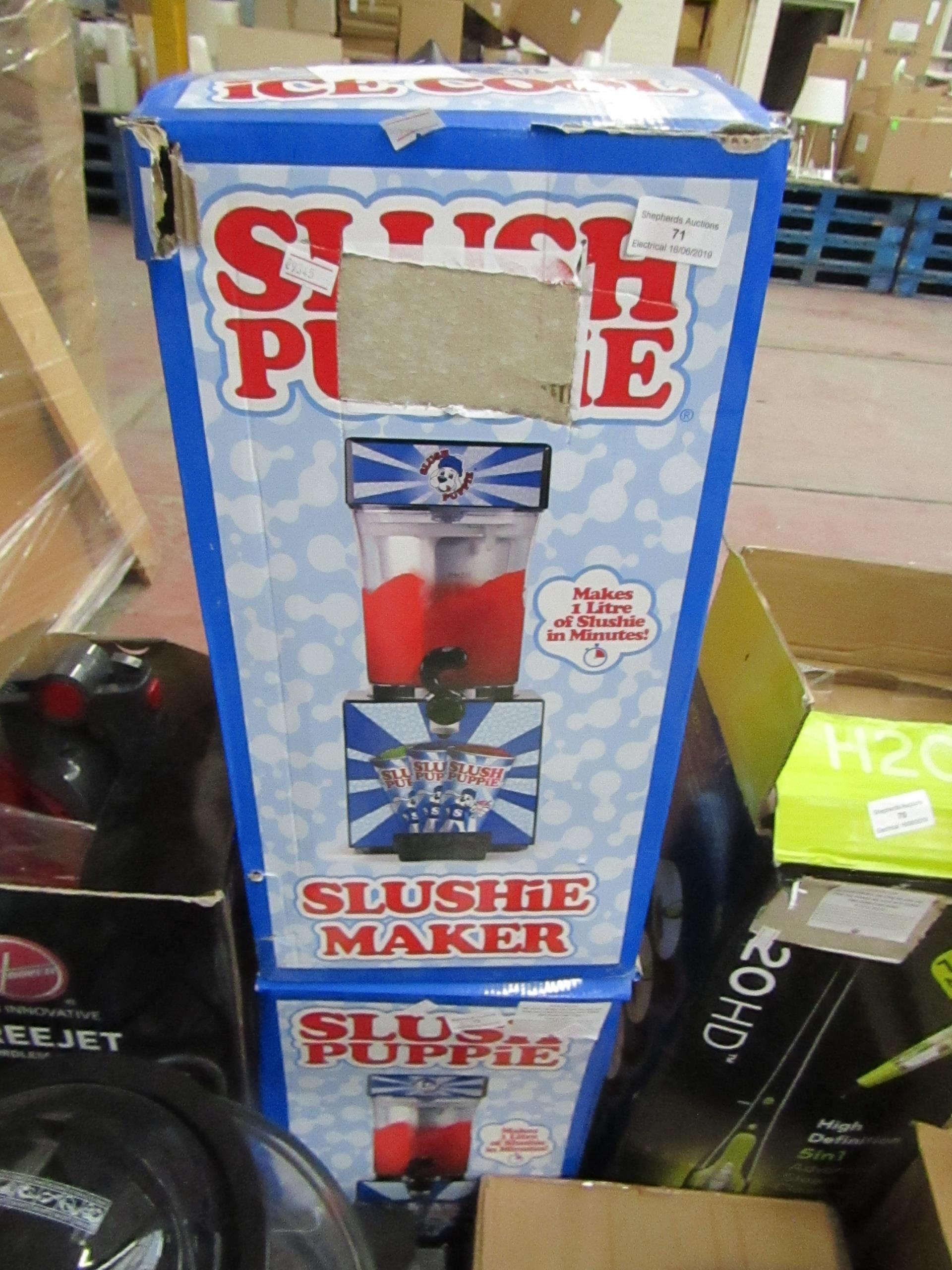 Lot 72 - Slush puppie slushie maker, tested working and boxed.