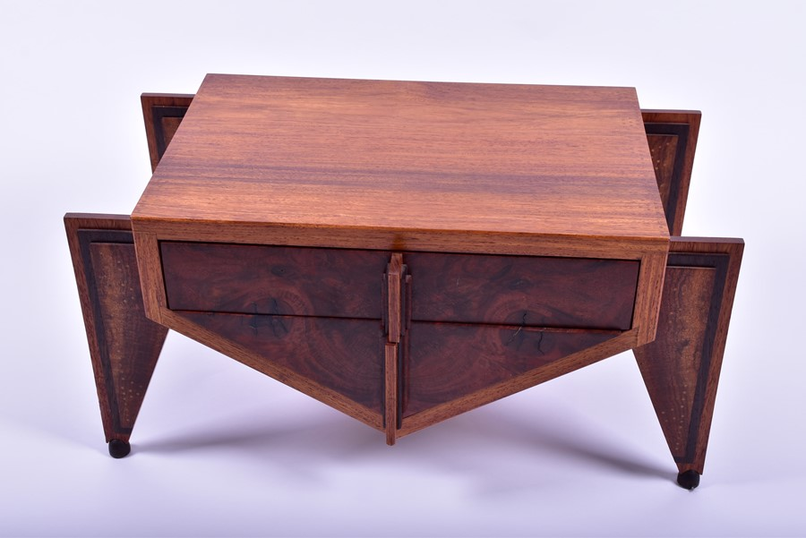 Lot 126 - An American Art Deco style Charles Cobb custom made cutlery or silverware chest of angular form, and